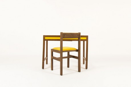 Andre Sornay desk and chair tinted beech and yellow lacquer 1960