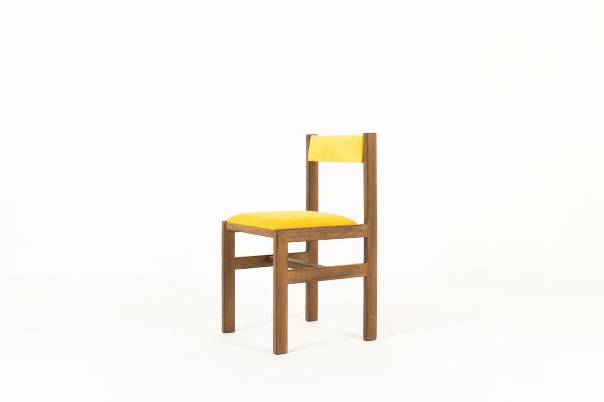 Bureau et chaise André Sornay hêtre teinté et laque jaune 1960