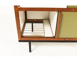 Andre Sornay wardrobe in mahogany with white and green lacquer 1950