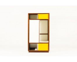 Andre Sornay wardrobe in mahogany with white and yellow lacquer 1950