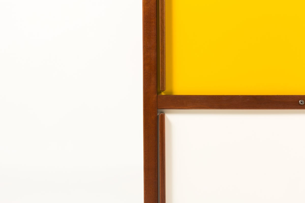 Andre Sornay wardrobe in mahogany with white and yallow lacquer 1950