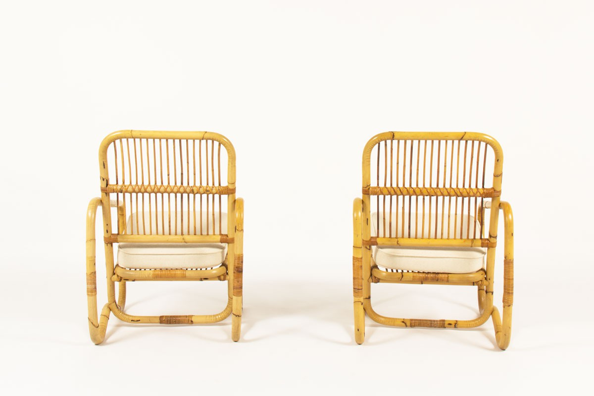 Armchairs in rattan and beige cotton fabric 1950 set of 2