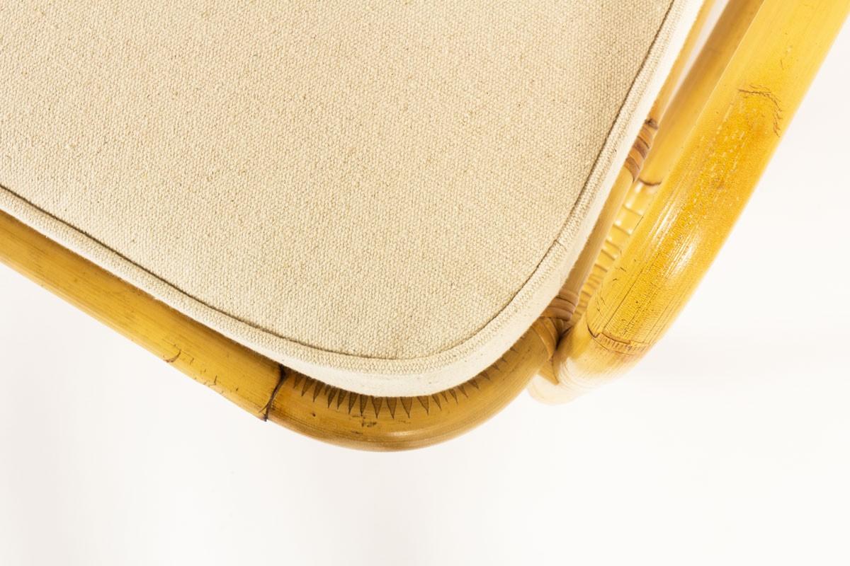 Fauteuils en rotin et tissu coton beige 1950 set de 2