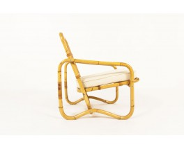 Armchair in rattan and beige cotton fabric 1950
