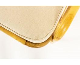 Fauteuil en rotin et tissu coton beige 1950