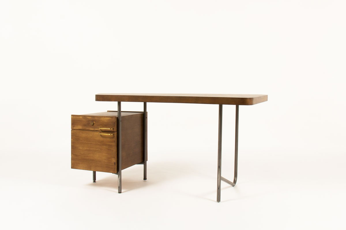 Georges Frydman desk in steel and ash 1960
