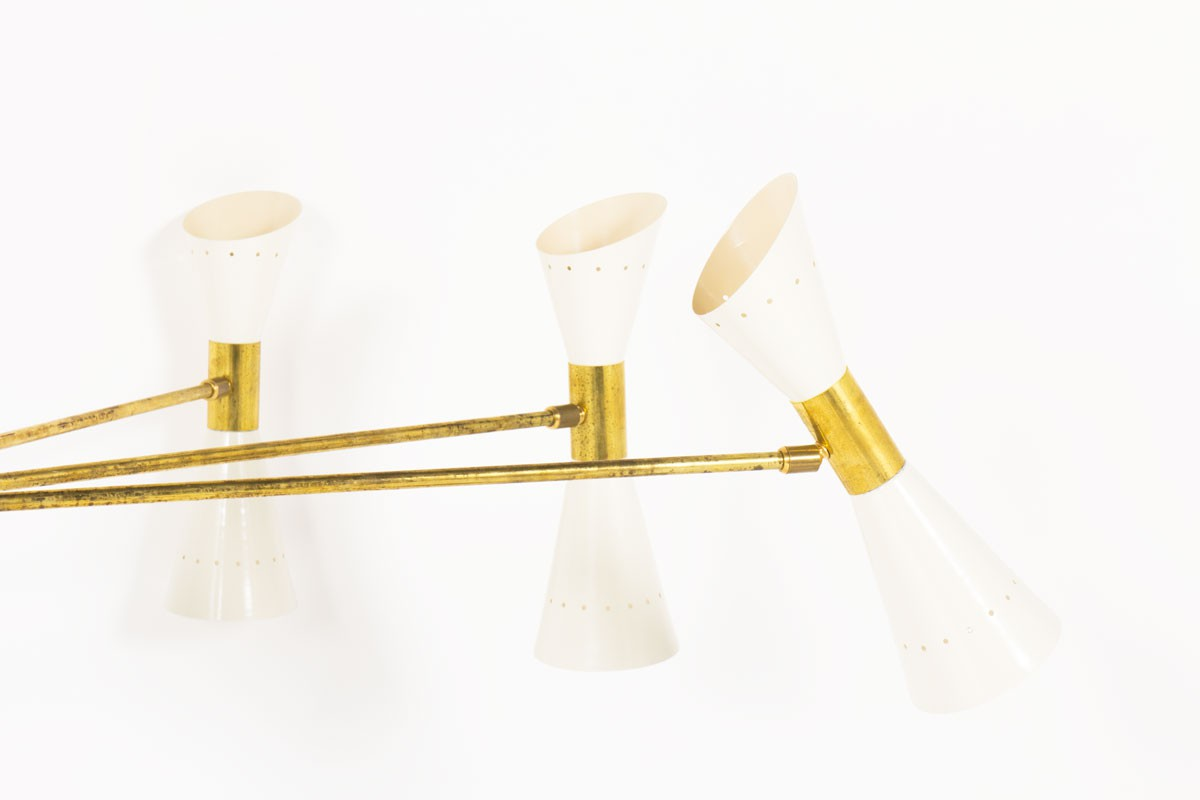 Chandelier in brass and diabolo diffusers Italian contemporary design