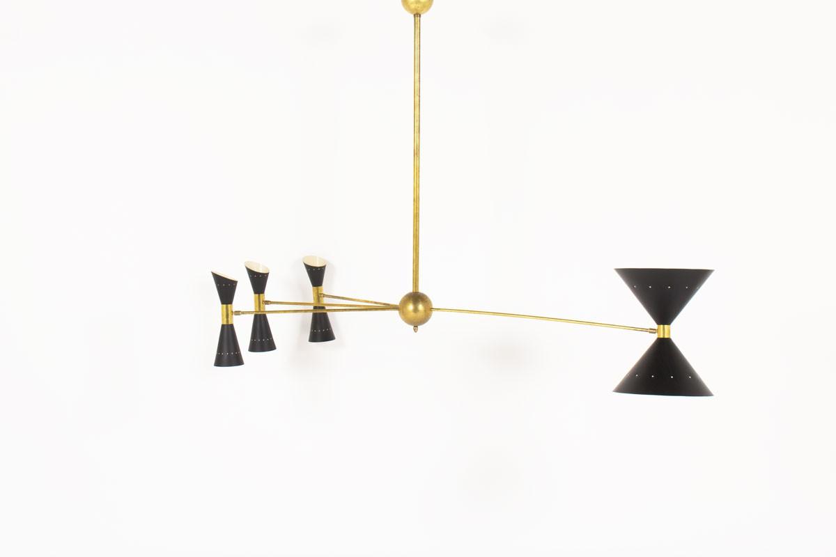 Lustre en laiton 4 bras diffuseurs diabolo design italien contemporain