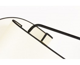 Lampadaire tripode métal noir bras coudé abat-jour courbé 1950