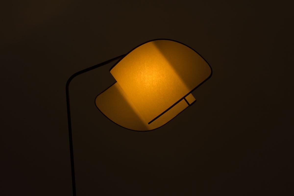 Tripod floor lamp black metal and hand made lampshade 1950