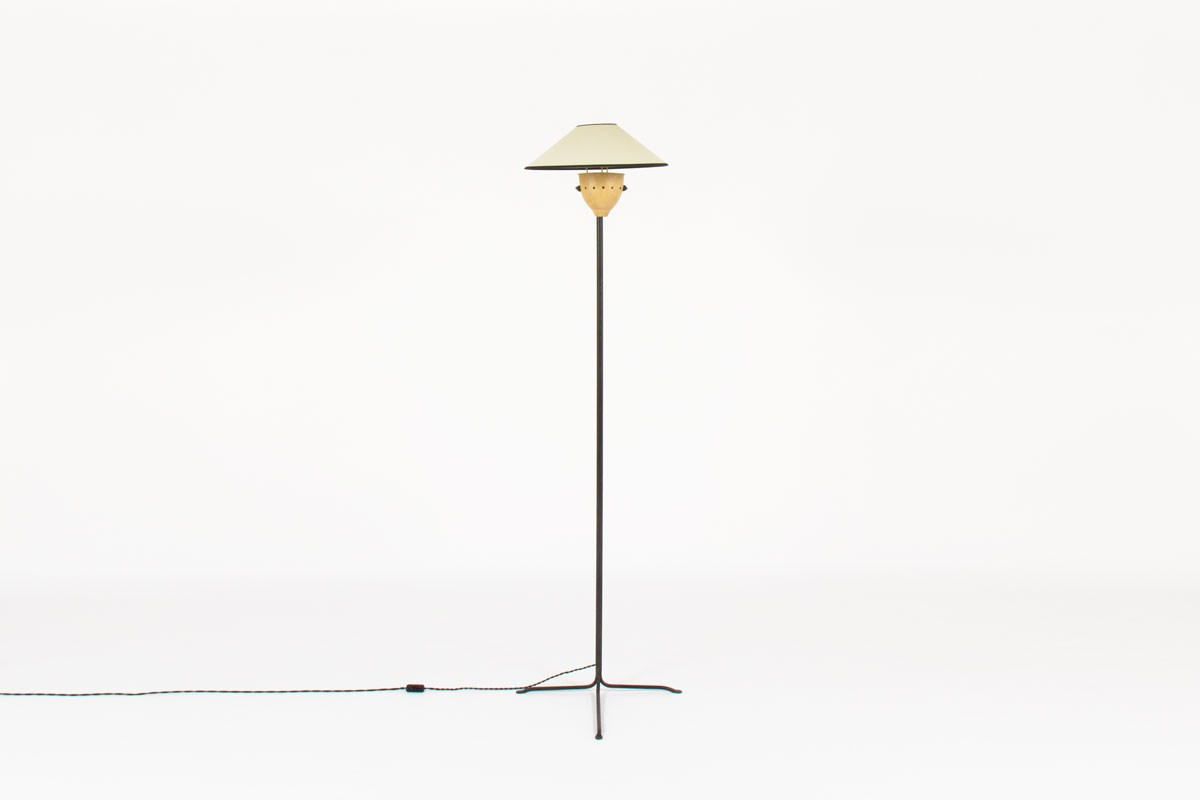 Tripod floor lamp straight black metal structure and beige lampshade 1950