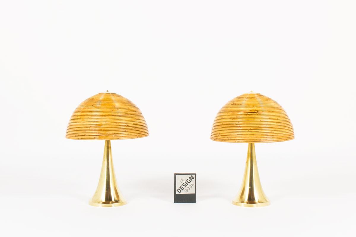 Lampes en laiton et abat-jour cloche en rotin design contemporain italien set de 2