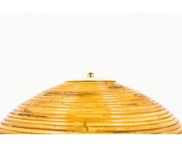 Lamps in brass with rattan dome lampshade Italian contemporary design