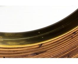 Miroir grand modèle en rotin et laiton design contemporain italien