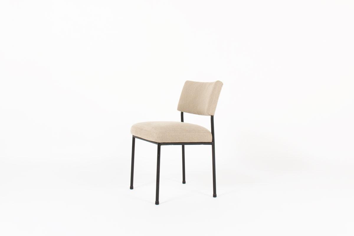 Joseph Andre Motte chairs model 764 grey beige linen edition Steiner 1950 set of 10