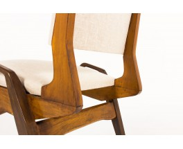 Maurice Pre chairs in tinted beech and beige fabric 1950 set of 8