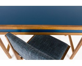 Andre Sornay desk and chair tinted beech and blue lacquer 1960