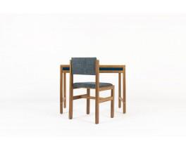 Bureau et chaise André Sornay hêtre teinté et laque bleue 1960