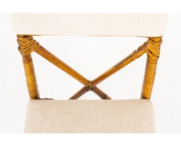 Chaises en bambou et tissu lin beige 1950 set de 6