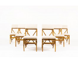 Chairs in bamboo with beige linen fabric 1950 set of 6