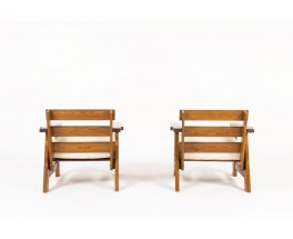 Armchairs in pine with beige cotton fabric seat 1950 set of 2