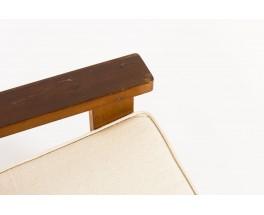 Fauteuils en pin et assise tissu coton beige 1950 set de 2
