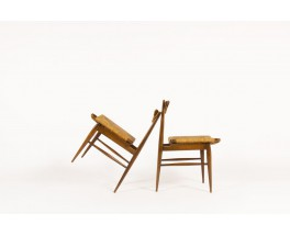 Chairs in oak with straw seat Italian design 1950 set of 2