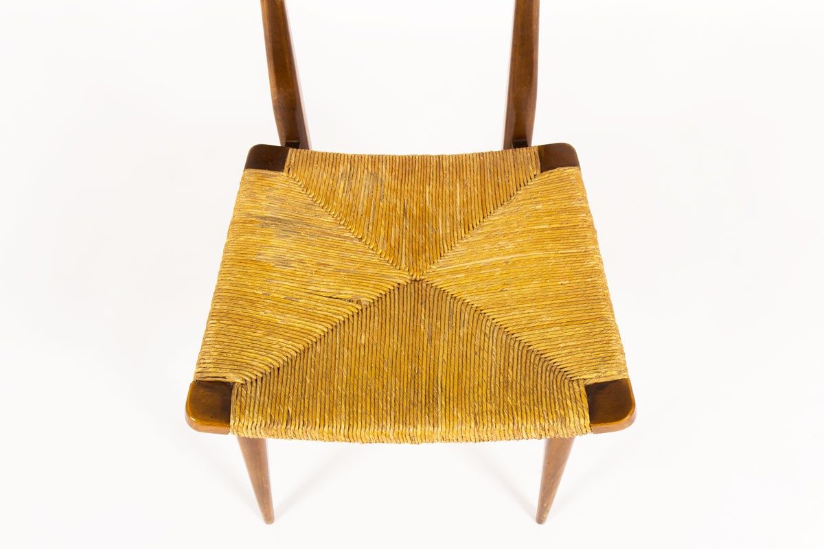 Chaises en chêne et assise en paille design italien 1950 set de 2