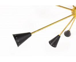Suspension modèle Sputnik laiton et réflecteurs laqués design contemporain italien