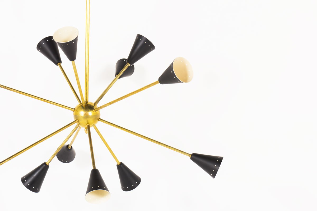 Pendant light model Sputnik in brass and lacquered reflector Italian contemporary design