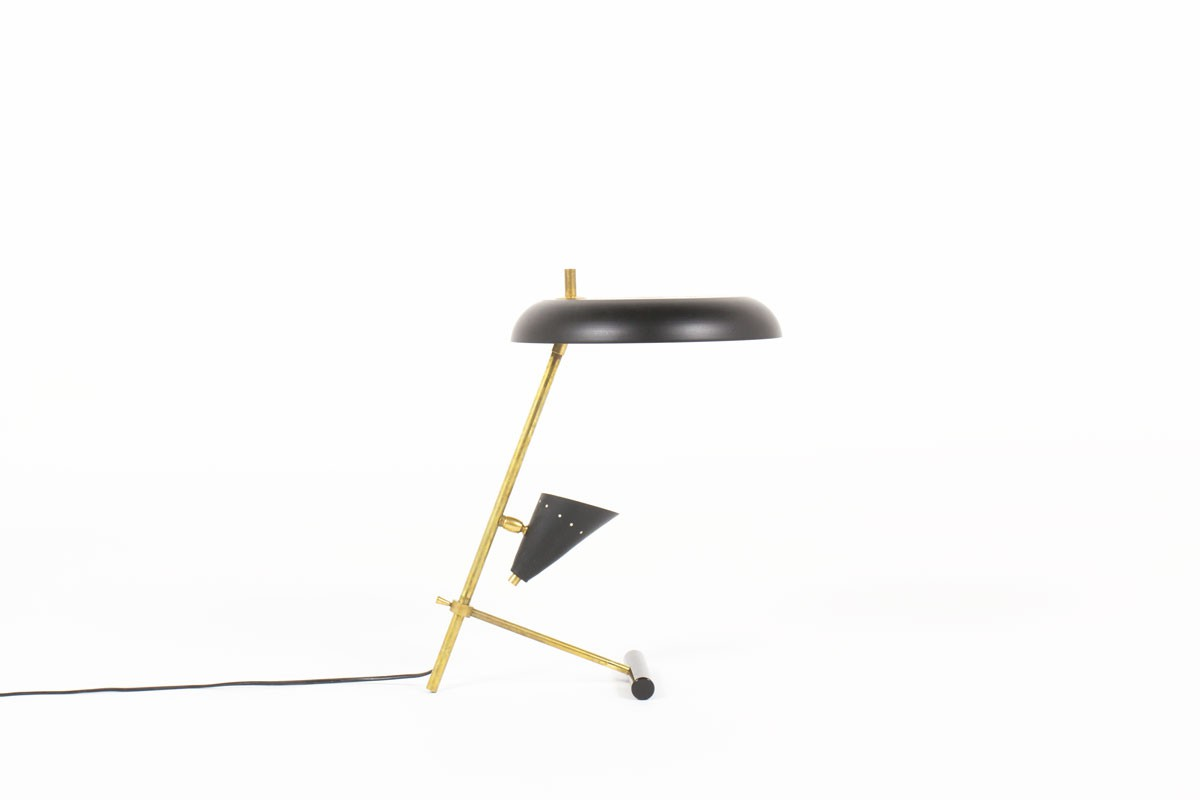 Lampe de bureau laiton patiné et réflecteurs laqués noir design contemporain italien
