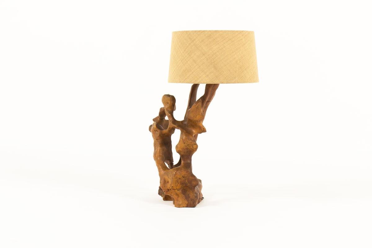 Lampe en olivier avec abat-jour en jute 1950
