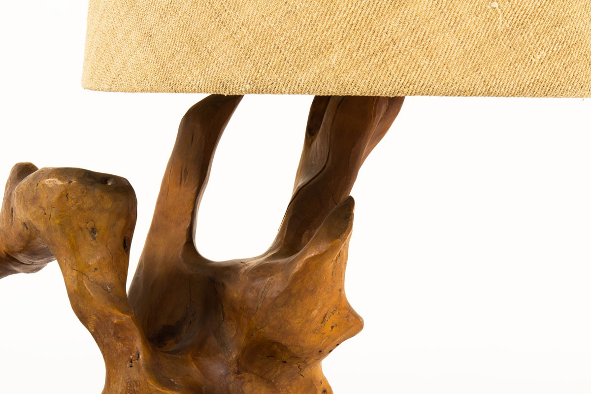 Lamp in olive tree with jute lampshade 1950