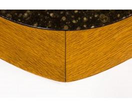 Table basse modèle Hexagonale en chêne et plateau granite 1950