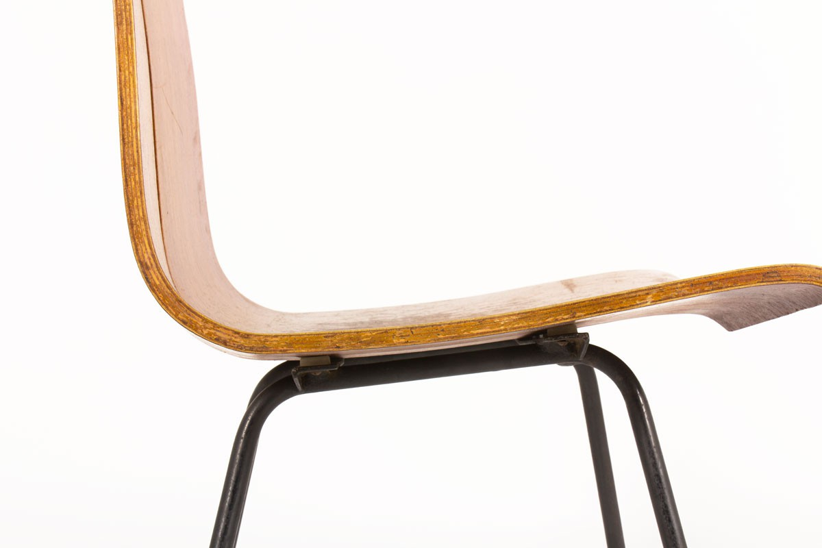 Hans Bellmann chairs model GA in wood and black metal edition Horgenglarus 1950 set of 4