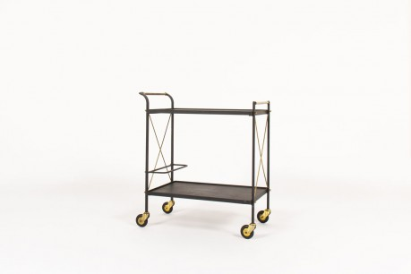 Dessert trolley in metal brass and black leatherette 1950