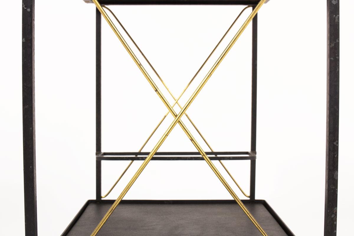 Bar roulant en métal laiton et skai noir 1950