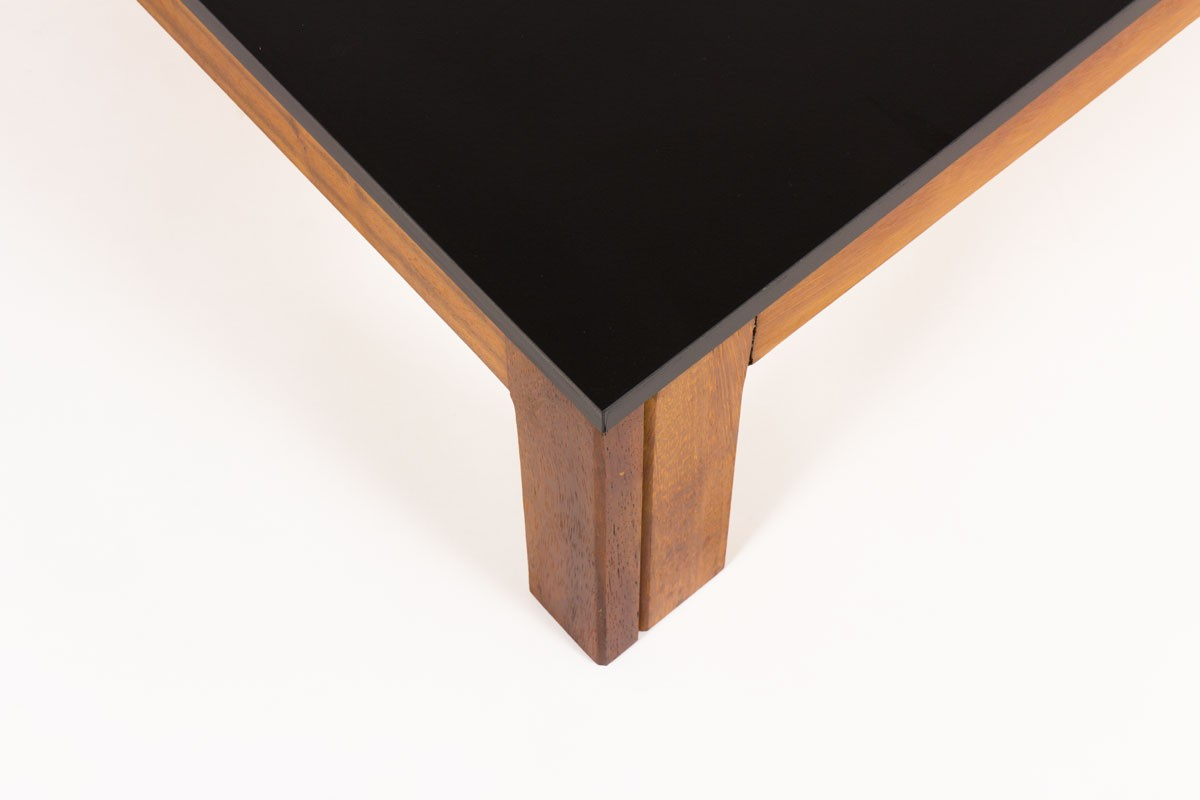 Andre Sornay square coffee table in mahogany with black laminate top 1960
