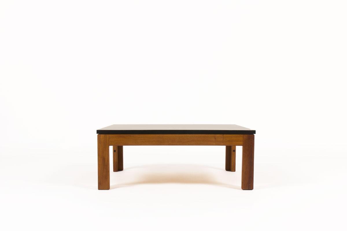 Table basse André Sornay carrée en acajou et plateau stratifié noir 1960