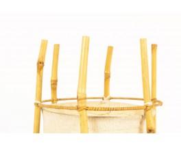 Lampe en bambou et abat-jour toile beige1950