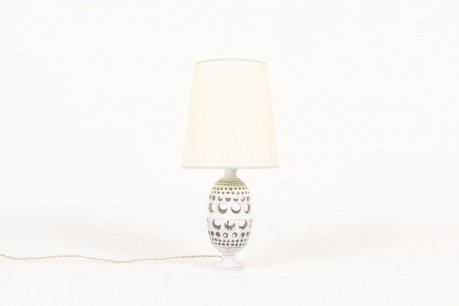 Lamp in grey ceramic with beige lampshade 1950