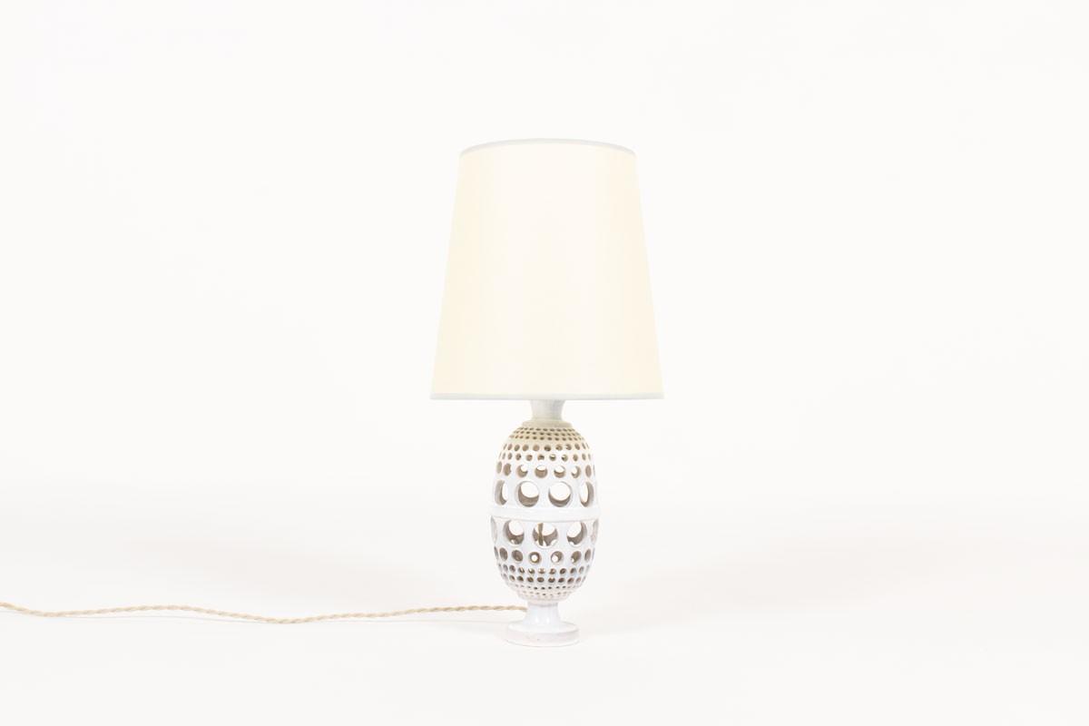 Lampe en céramique grise avec abat-jour beige 1950