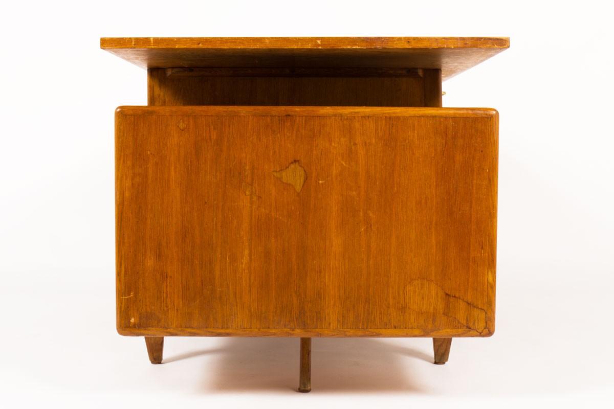 Desk in oak and black laminate 1950