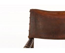 Fauteuil en chêne foncé et cuir marron 1950