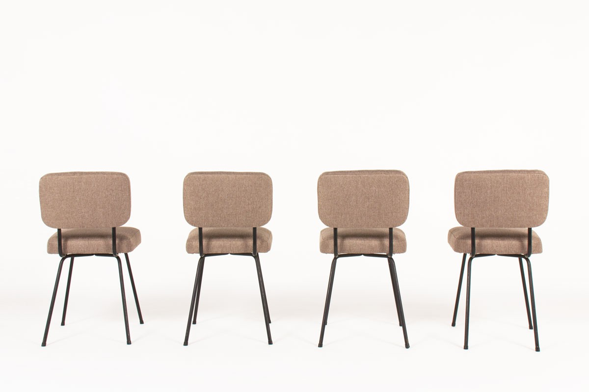 Andre Simard chairs in brown fabric edition Airborne 1950 set of 4