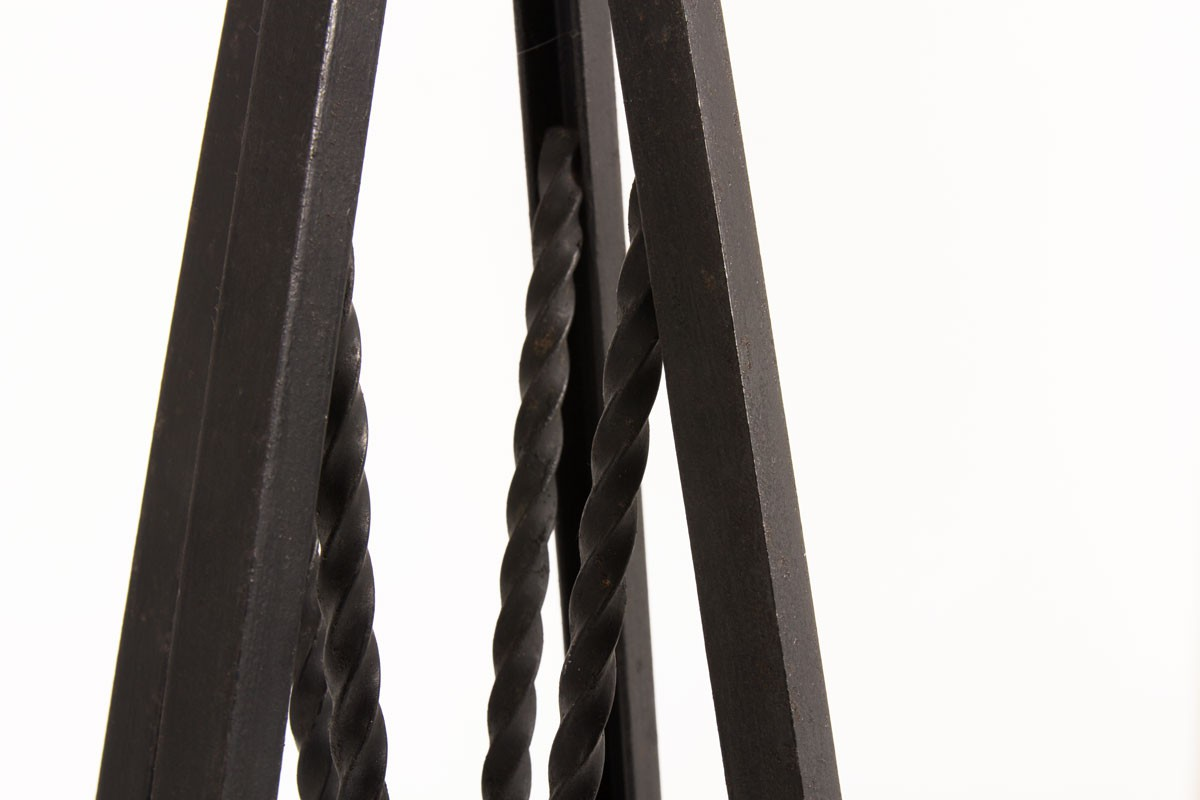Lampadaire modèle losange métal noir et abat-jour beige 1950
