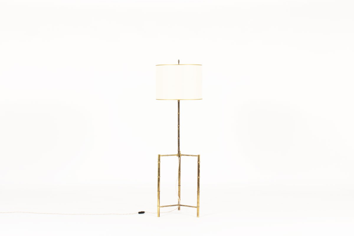 Floor lamp bamboo style in brass with beige lampshade 1950
