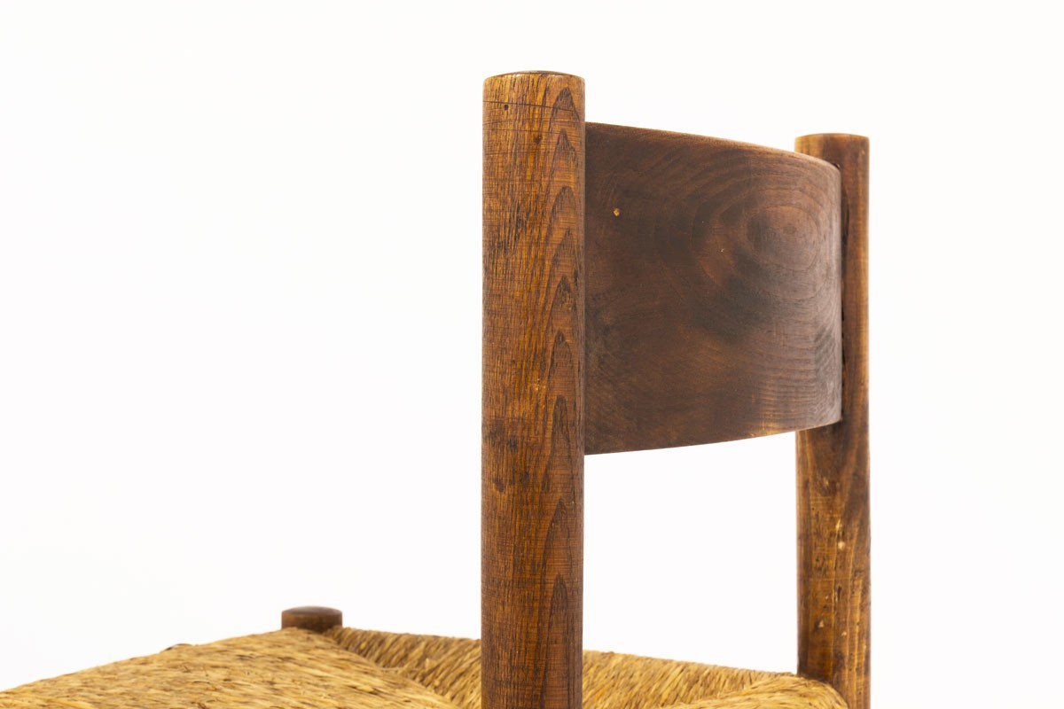 Charlotte Perriand chairs model Meribel in oak edition Steph Simon 1950 set of 4