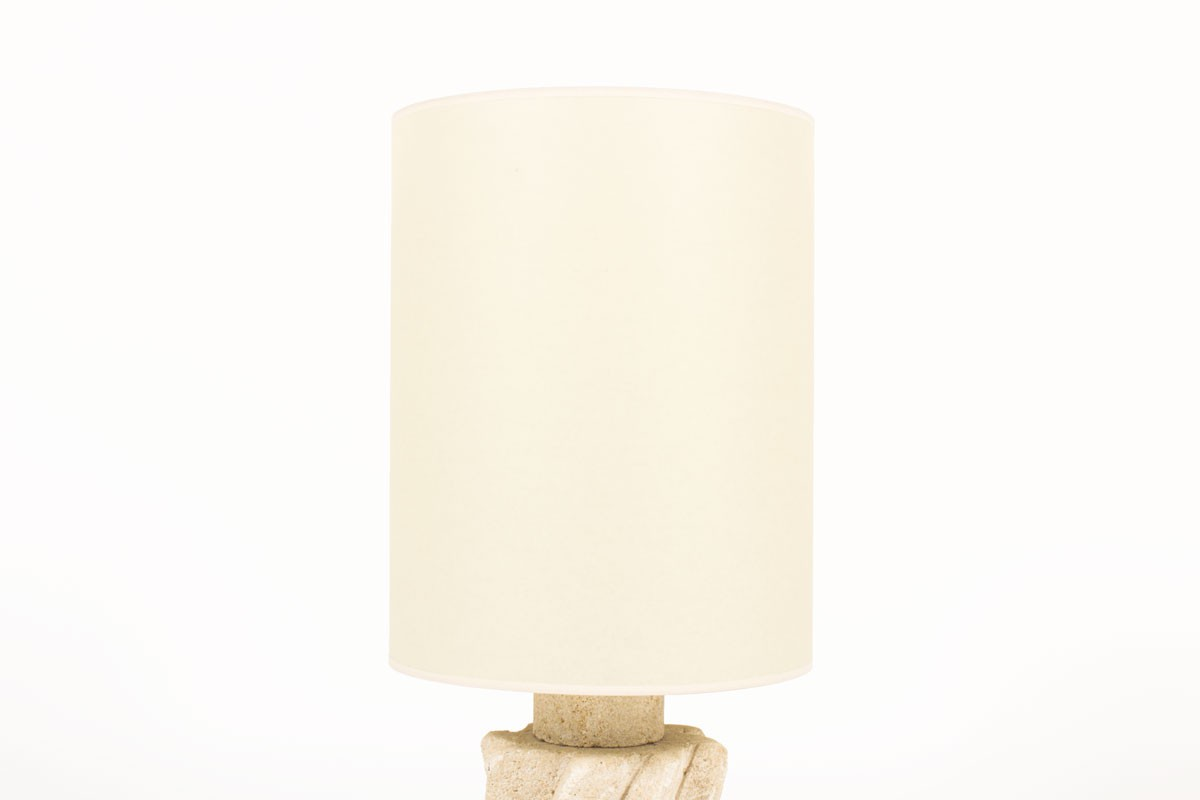 Albert Tormos lamp in stone with beige lampshade 1950