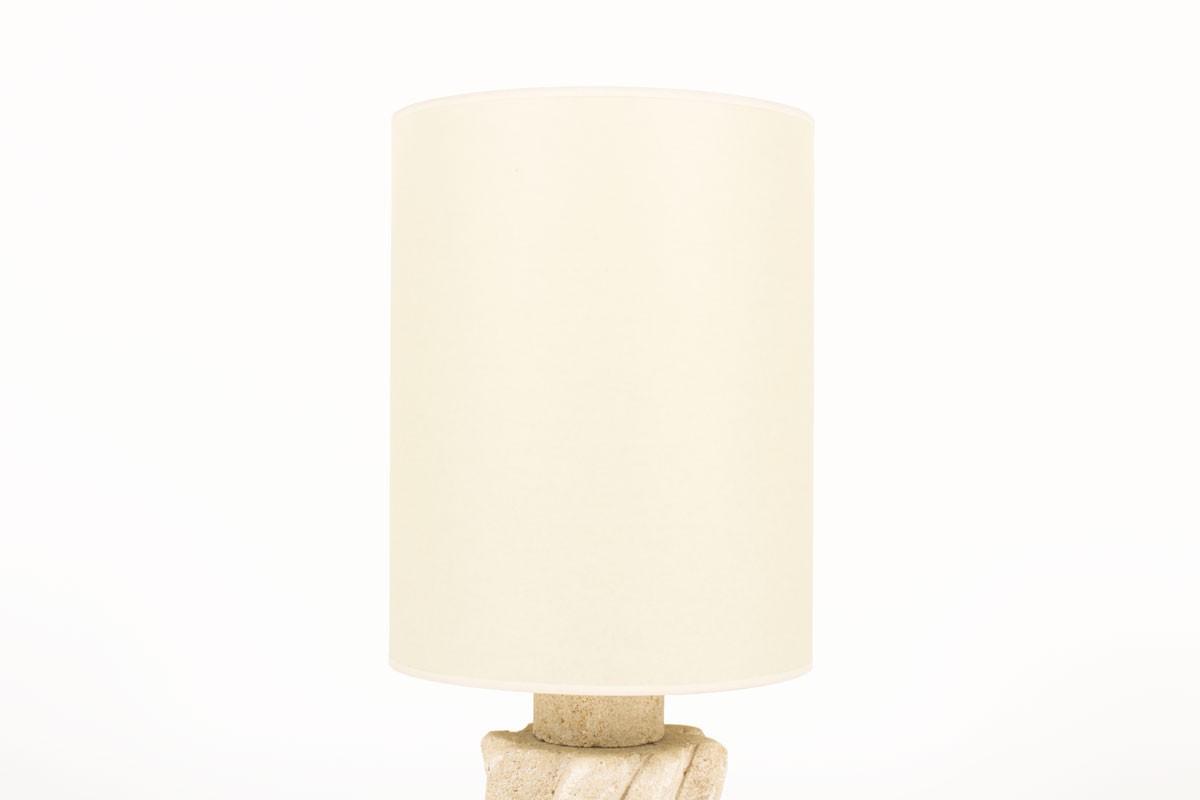 Lampe Albert Tormos en pierre avec abat-jour beige 1950